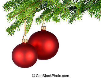 Red Christmas baubles hanging from fresh green twigs