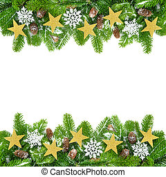 Decorated fir twigs as a Christmas frame - Frame of fresh...