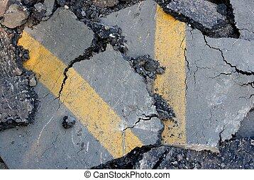Asphalt - Cracked surface of an asphalt road