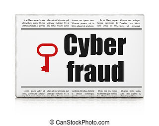 Security news concept: newspaper with Cyber Fraud and Key