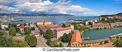 La Spezia panoramic view. - Panorama of navy base on gulf of...