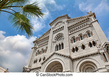 Saint Nicholas cathedral in Monaco. - Facade of famous Saint...