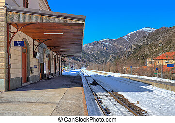 Small railway station in Alps.