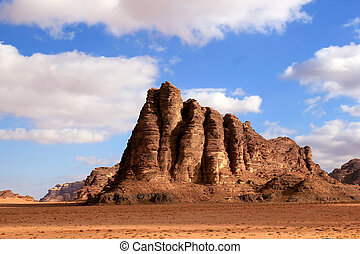 "The ""Seven Pillars of Wisdom"" rock formation, Wadi Rum..."