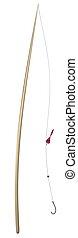 fishing rod   - fishing rod isolated on white