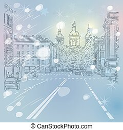 Vector Christmas winter Cityscape - Christmas winter Urban...