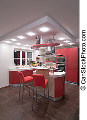 Red modern kitchen Interiors Cupboard Table top
