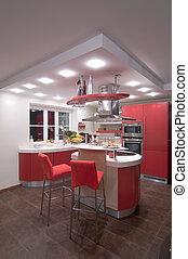 rojo, moderno, cocina