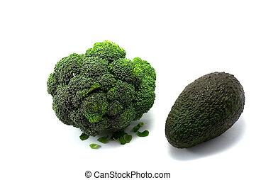 fresco, abacate, brócolos