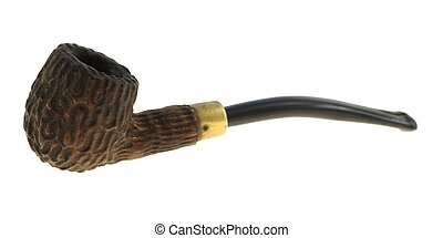 Smoking pipe - textured wooden smoking pipe isolated on...