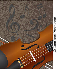 Violin Bow with Musical Notes Background Illuustration