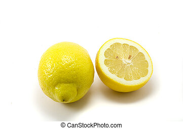 Cuted yellow lemon on the white background