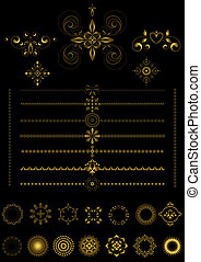 Gold borders and ornaments - Collection of decorative gold...