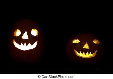 Halloween pumpkin couple - Two pumpkins in the night