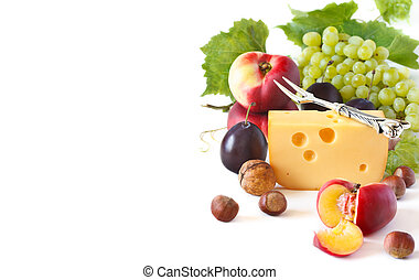 Snack - Cheese and fruit on a white background
