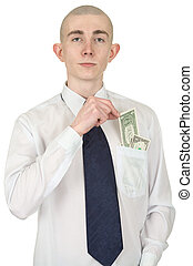 Man with money in a pocket