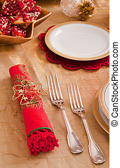 Silverware and napkin for the Christmas table