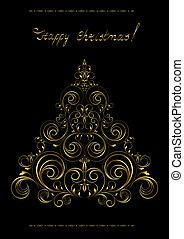 Gold openwork Christmas Tree with - Openwork golden...