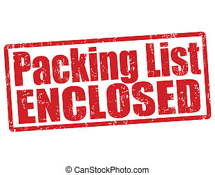 Packing list enclosed stamp - Packing list enclosed grunge...