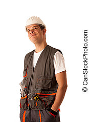 Lazy worker with hands in his pockets