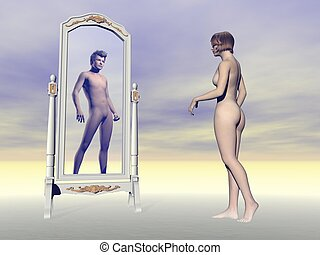 Female wishing of being male - 3D render - Female looking at...