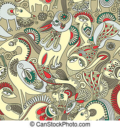 Seamless pattern with fantasy animals
