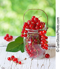 Redcurrant berries - Fresh redcurrant berries in a glass jar...
