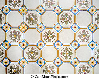 antique mosiac floor background - Picture of a decorative...