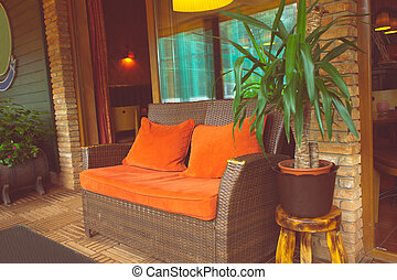 conservatory - interior of conservatory in worm orange,...