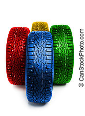 multicolor winter tires, isolated on white