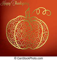 Happy Thanksgiving - Filigree pumpkin Thanksgiving card in...