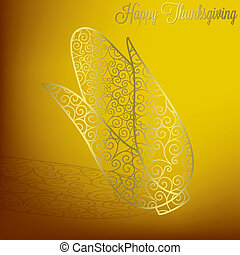 Happy Thanksgiving - Filigree corn Thanksgiving card in...