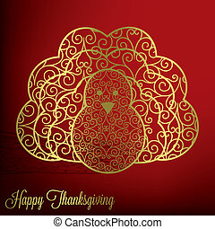 Happy Thanksgiving! - Filigree turkey Thanksgiving card in...