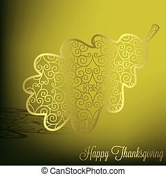 Happy Thanksgiving - Filigree acorn leaf Thanksgiving card...