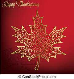 Happy Thanksgiving - Filigree maple leaf Thanksgiving card...