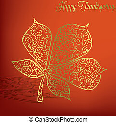 Happy Thanksgiving - Filigree leaf Thanksgiving card in...
