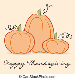 Happy Thanksgiving - Hand drawn pumpkin Thanksgiving card in...