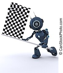 Android waving checkered flag