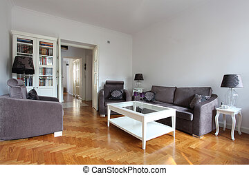 White and purple living room