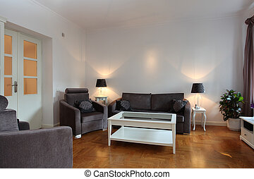 Spacious living room - Spacious white living room with...