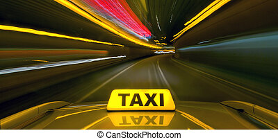 Taxi at warb speed - Taxi driving at high speed through the...