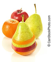 Fruit mix - Fruit slices, pear, mandarin and apple, isolated
