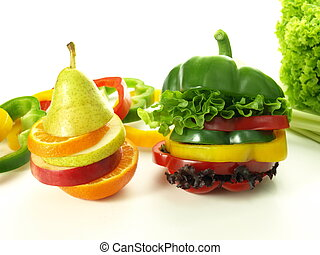 Colorful vitamins - Healthy fruits and vegetables cut in...