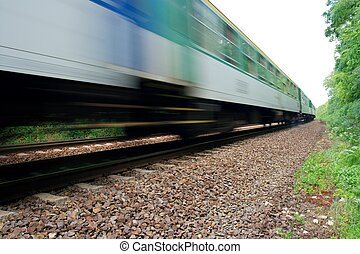 Train - Fast train passing by with motion blur