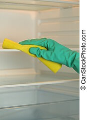 Cleaning a fridge - Closeup of woman's hand cleaning a...