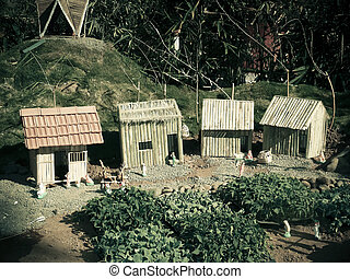 Model of a Cane houses, a village
