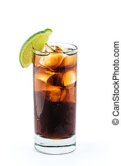 Cuba libre cocktail isolation on white background - Cuba...
