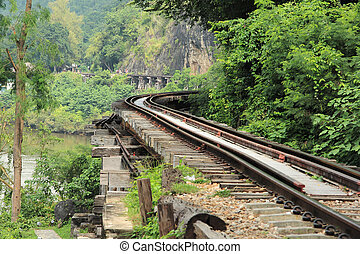 The old military railway over a river and naer Mountain in...