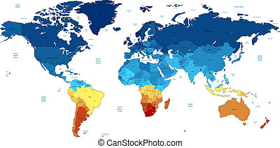 Blue and yellow detailed World map - Detailed vector World...