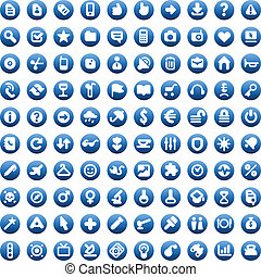 Blue buttons and signs - Set of one hundred icons for...